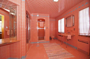 This is a pretty decent match to my grandparent's retro 1950's pink bathroom.