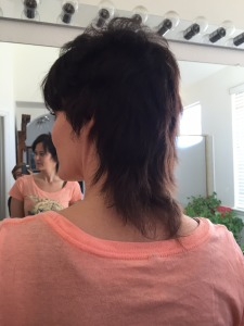 Super bad rat tail, mullet type situation...post pig tail chopping.