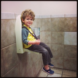"Or, huge preschooler in a toddler jumpseat. BUT MAMA HAD TO GOOOOOOOO! The buzz on this IG feed was, ""Who on earth put the sanitary receptacle next to the kid seat?"""